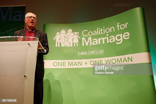 Lord Carey, the ex-Archbishop of Canterbury addresses a rally held by the Coalition for Marriage against the backdrop of the Conservative Party...