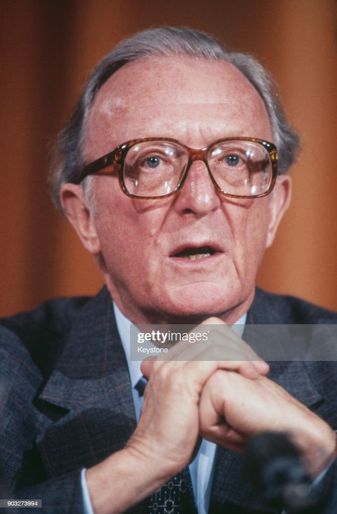 Lord Carrington, Peter Carington, Secretary General of NATO, Brussels, circa 1985.