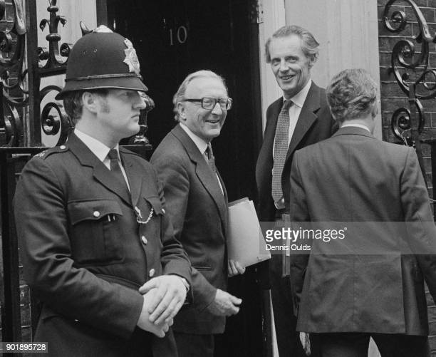 Lord Carrington the Foreign Secretary and minister of Overseas Development and Sir Ian Gilmour the Lord Privy Seal arrive at 10 Downing Street in...
