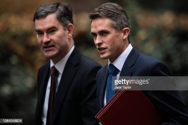 Lord Chancellor David Gauke and Defence Secretary Gavin Williamson arrive for the weekly Cabinet meeting at Number 10 Downing Street on December 18...