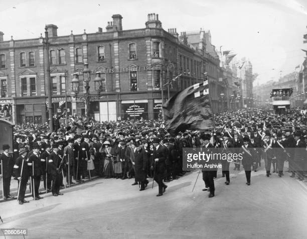 Lord Charles Beresford Frederick Smith founder of the paramilitary Ulster Volunteer Force Edward Carson head a protest rally against Home Rule at...