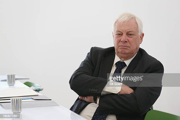 Lord Chris Patten sits in Sculptor Anthony Gormley's studio following the announcement that Mr Gormley has been awarded the Sculpture Laureate in the...