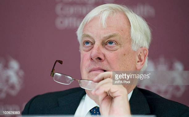 Lord Chris Patten talks to reporters at the Foreign Office on July 5 2010 in London England Pope Benedict XVI will visit the United Kingom for four...