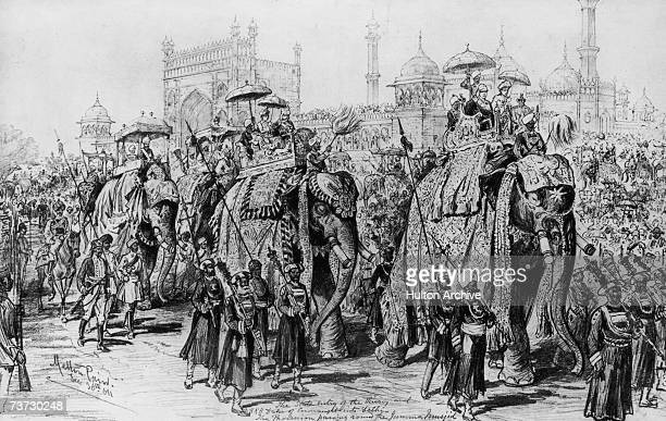 Lord Curzon Viceroy of India and Prince Arthur Duke of Connaught in procession past the Jama Masjid mosque in Delhi at the Coronation Durbar held to...