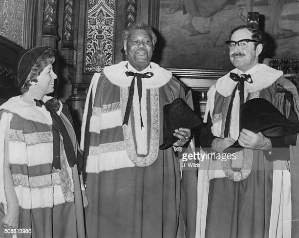 Lord David Pitt with his sponsors Lady Annie LlewelynDavies and Lord Philip Morris prior to taking his seat in the House of Lords February 10th 1975