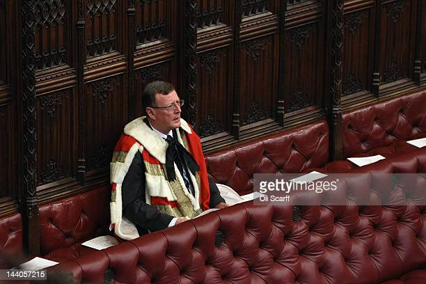 Lord David Trimble waits in in the House of Lords for the arrival of Queen Elizabeth II and Prince Philip the Duke of Edinburgh to conduct the State...