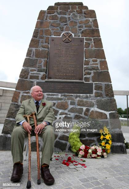 Lord Elgin a direct descendant of Robert the Bruce sits beside the Borestone Cairn in the Rotunda as a wreath is laid at the Borestone Marker where...