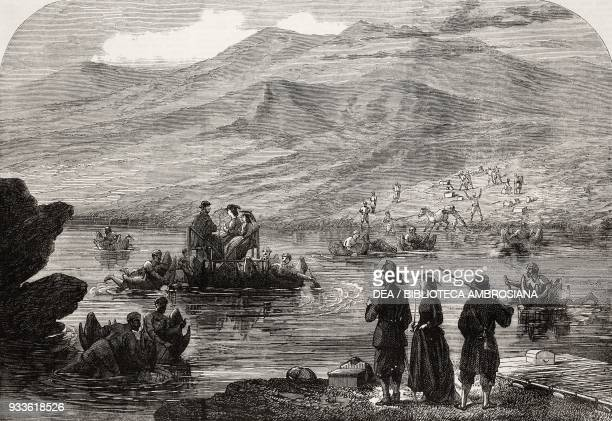 Lord Elgin and suite crossing the Beeas river on inflated bullock skin rafts Himalaya illustration from the magazine The Illustrated London News...