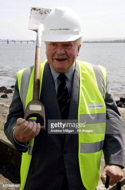 Lord Elgin stands with the spade he used in the 'first dig' of the Kincardine bridge in 1933 and overlooks the place where new work has begun on a...