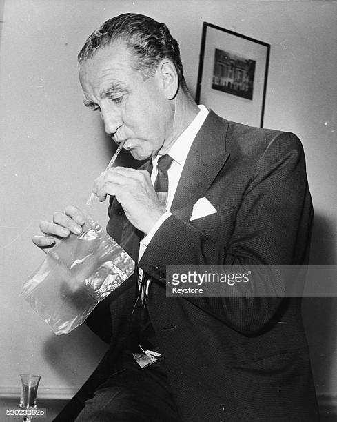 Lord Ernest Marples Conservative Party politician and Minister of Transport testing a breathalyser 1962 Printed upon his death on July 6th 1978