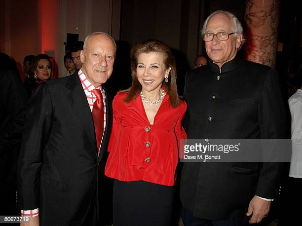 """Lord Foster, HRH Princess Firyal of Jordan and Evelyn de Rothschild attend the private view of """"Blood On Paper"""" at the Victoria and Albert Museum on..."""