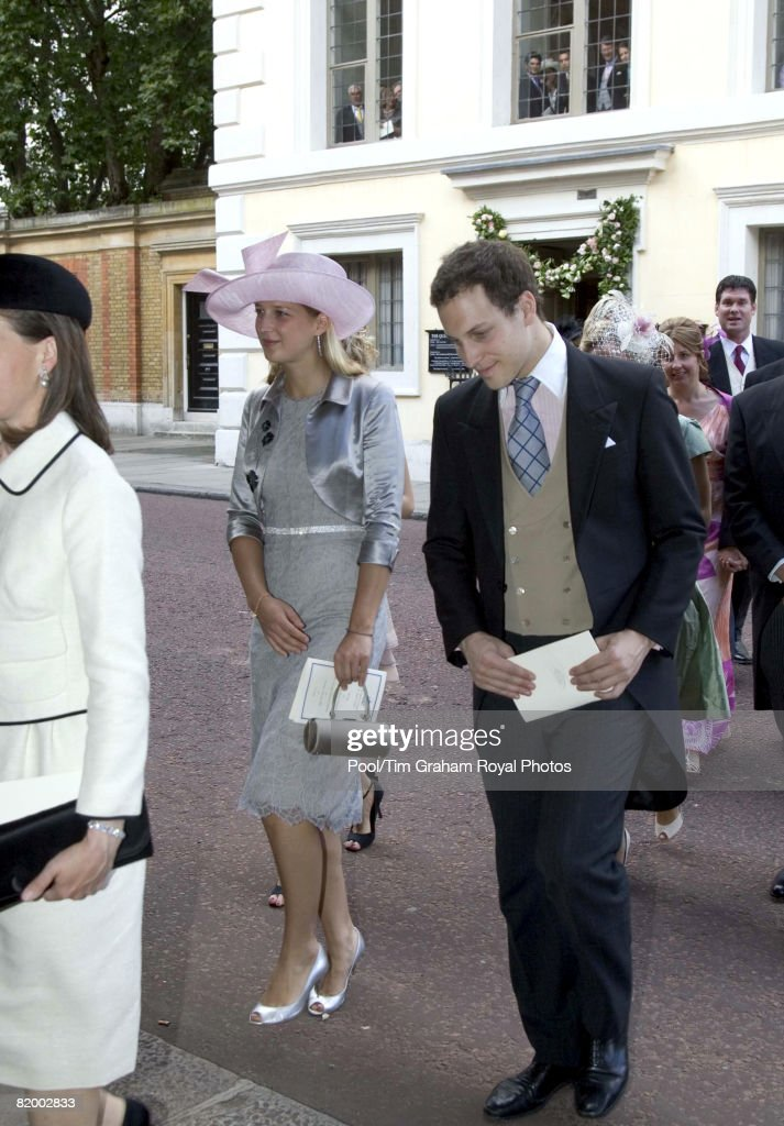 Lord Frederick and Lady Gabriella Windsor attend the wedding of Lady Rose Windsor and George Gilman at the Queen's Chapel near St James's Palace on July 19, 2008 in London, England.