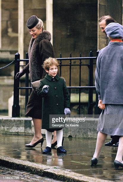 Lord Frederick Windsor and his parents Prince and Princess Michael of Kent attend the Royal Christmas Service at St George's Chapel on December 25...