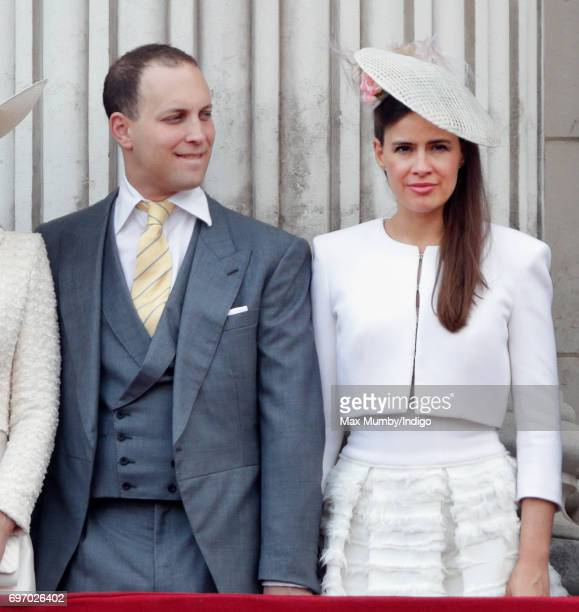 Lord Frederick Windsor and Lady Frederick Windsor stand on the balcony of Buckingham Palace during the annual Trooping the Colour Parade on June 17...