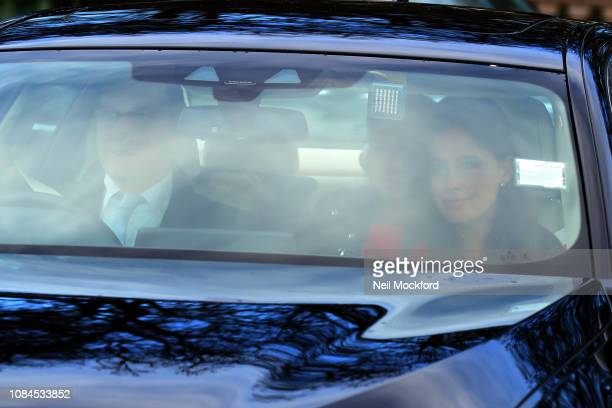 Lord Frederick Windsor and Sophie Winkleman arrive at Buckingham Palace for Christmas Lunch on December 19 2018 in London England