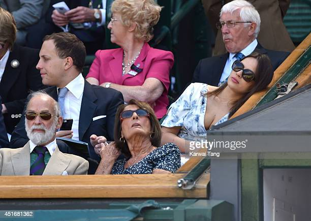 Lord Frederick Windsor and Sophie Winkleman attend the semifinal match between Noval Djokovic and Grigor Dimitrov on centre court at The Wimbledon...