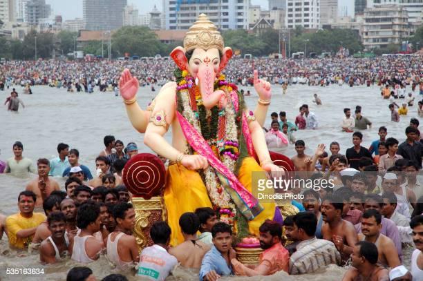 Lord Ganesha on Chowpatty beach in Mumbai, Maharashtra, India.
