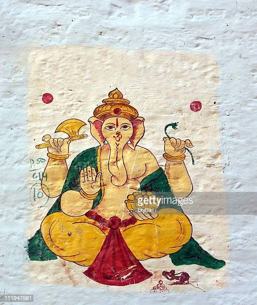 Lord Ganesha painted on a white wall