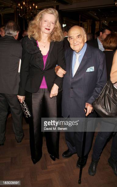 Lord George Weidenfeld and wife Annabelle Weidenfeld attend the launch of Geordie Greig's new book Breakfast With Lucian on October 3 2013 in London...