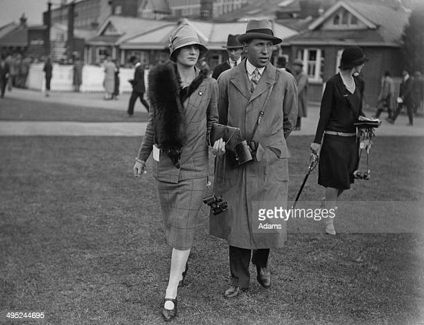 Lord Henry the 6th Earl of Carnarvon with his wife Lady Anne Carnarvon at Newbury Races 24th September 1926