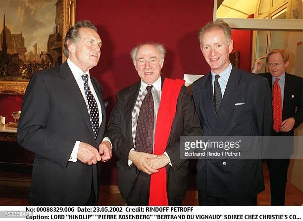 Lord Hindlip Pierre Rosenberg Bertrand Du Vignaud party at Christie's collection of the Marquis de Bath Avenue Matignon Paris