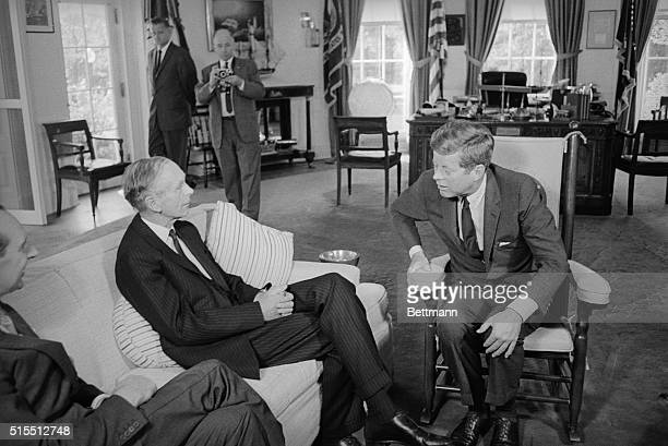 Lord home confers with Kennedy Washington DC President Kennedy confers with British Foreign Secretary Lord Home at the White House today Lord Home...