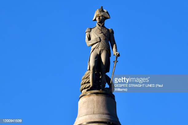 lord horatio nelson by william railton (trafalgar square, london) - admiral nelson stock pictures, royalty-free photos & images