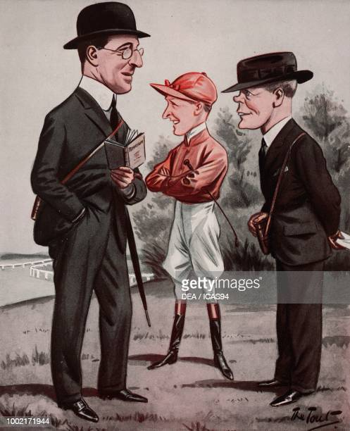 Lord Howard de Walden Jack Leach and Dawson Waugh cartoon by Peter Ronald Buchanan known as The Tout from The Tatler No 1364 August 17 London
