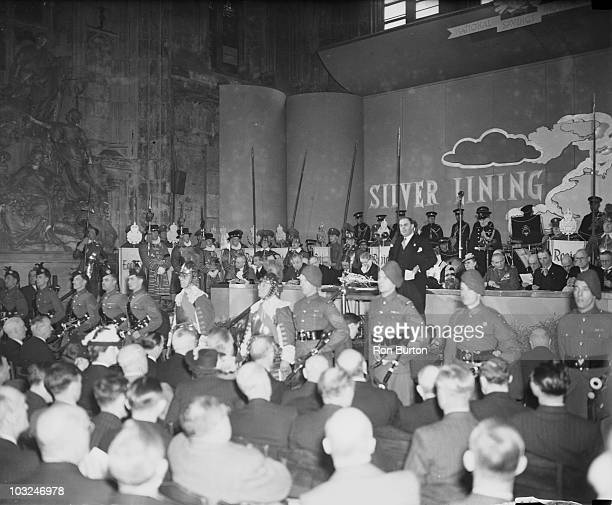 Lord Inman , the Lord Privy Seal, makes a speech during the launch of the new 'Silver Lining' National Savings campaign at the Guildhall in London,...