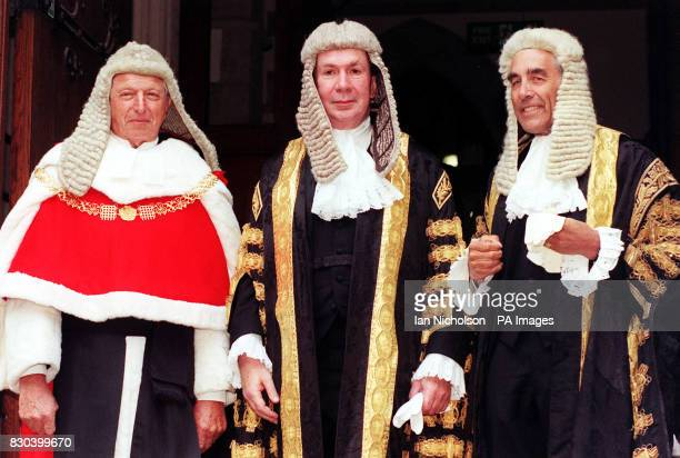 Lord Irvine the Lord Chancellor with Lord Woolf who was sworn in as Lord Chief Justice of England and Wales and Lord Phillips of Worth Matravers who...