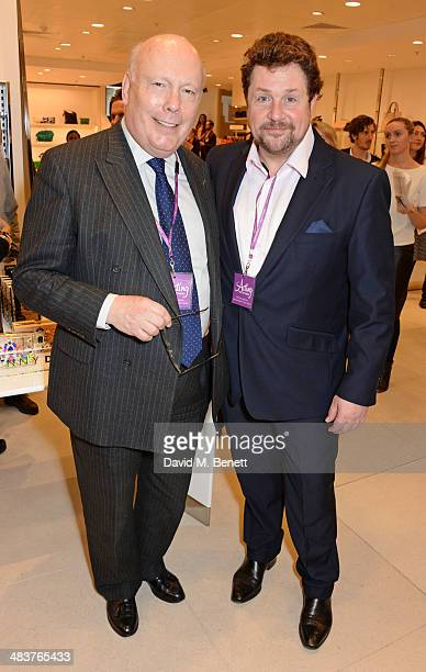 Lord Julian Fellowes and Michael Ball attend the Shop with the Stars a public shopping evening to celebrate The Olivier Awards with MasterCard to...