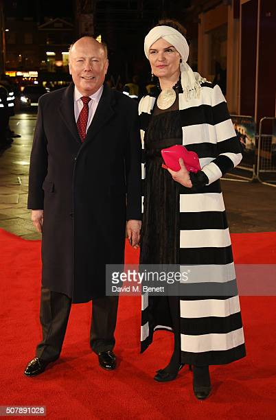 Lord Julian Fellowes and wife Emma Joy Kitchener attend the European Premiere of 'Pride And Prejudice And Zombies' at the Vue West End on February 1...