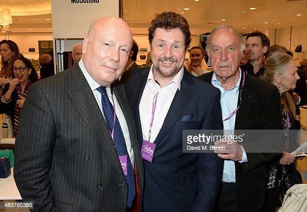 Lord Julian Fellowes Michael Ball and Geoffrey Palmer attend the Shop with the Stars a public shopping evening to celebrate The Olivier Awards with...