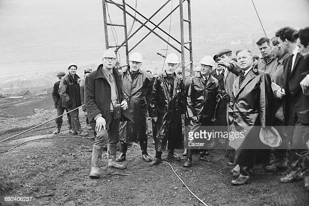Lord Justice Edmund Davies Baron EdmundDavies heads the Aberfan Inquiry in Wales 8th December 1966 Here he visits the colliery spoil tip which...