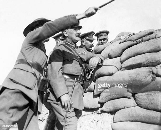 Lord Kitchener seen here on a tour of the trenches in the Dardanelles with General Maxwell In this image the two commanders were within thirty yards...