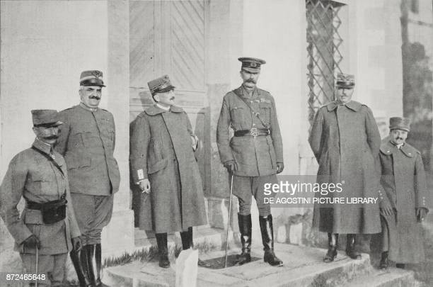 Lord Kitchener visiting the Italian Headquarters Left Colonel Pennella General Diaz Lord Kitchener General Cadorna Italy World War I from...