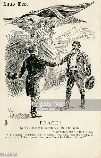 Lord Kitchener was commanderinchief for the British forces in the Second Boer War Britania oversees the signing of the peace agreement in caricature...
