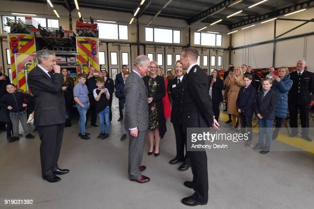 Lord Lieutenant Andrew Coombe and Clare Crabb North Regional Director of the Prince's Trust lookson as The Prince of Wales meets Police Inspector...