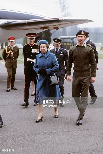 Lord Lieutenant Prince Edward At Raf Benson In Royal Marines Uniform Walking With His Mother The Queen