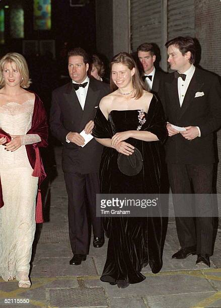 Lord Linley And His Wife Serena With His Sister Lady Sarah Chatto [ Black Dress ] And Her Husband Daniel Chatto