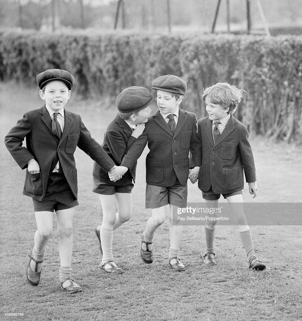 Lord Linley (second right), son of Princess Margaret and Anthony Armstrong-Jones, with school friends at Harrods Sports Club in Barnes on 16th May 1969. This image is one of a series taken by Ray Bellisario who was credited with being the 'original paparazzo' and someone who frequently upset the Royal Family with his informal and often unwelcome style of photography.