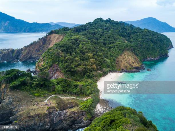 Lord Loughbolough lsland with white sandy beach. Aerial view from drone. Myanmar (Burma) travel destinations
