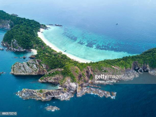 lord loughbolough lsland with white sandy beach. aerial view from drone. myanmar (burma) travel destinations - loughborough stock pictures, royalty-free photos & images