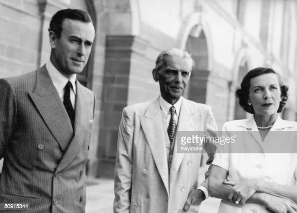 Lord Louis Mountbatten of Burma the last Viceroy of India and overseer of the partition of India into India and Pakistan with his wife and Mohammed...