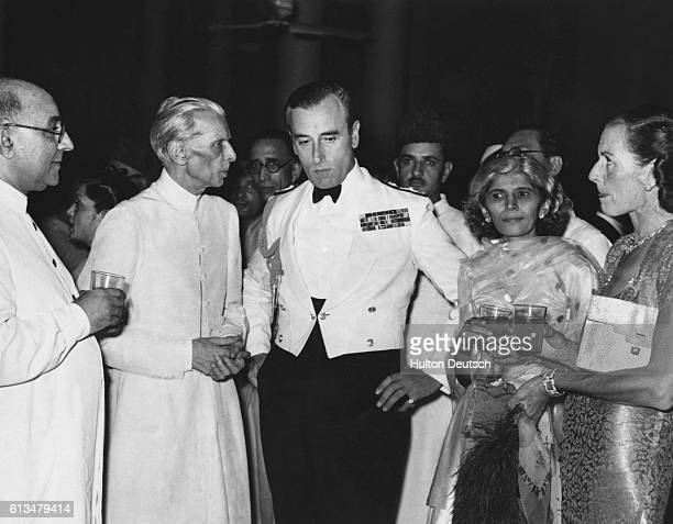 Lord Louis Mountbatten the Viceroy of India and his wife with other guests at a reception given for Muslim members of the Interim Government