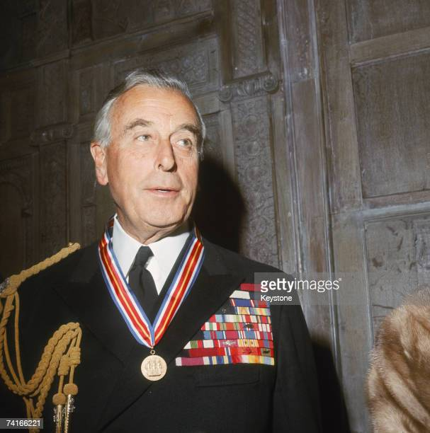 Lord Louis Mountbatten wearing the Veterans of Foreign Wars Merit Award presented to him by the US Veterans of Foreign Wars organization for...
