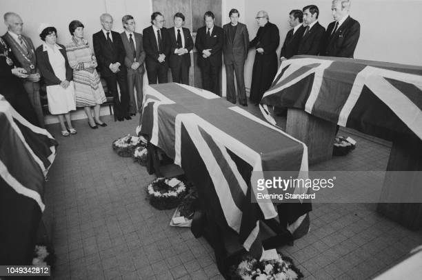 Lord Louis Mountbatten's coffin London UK 28th August 1979 Louis Mountbatten 1st Earl Mountbatten of Burma was assassinated by IRA member Thomas...
