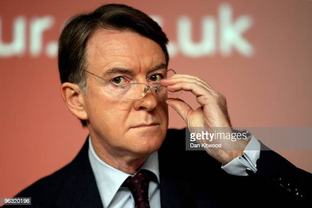 Lord Mandelson speaks during a press conference at Labour Headquarters on February 1 2010 in London England The business secretary Peter Mandelson...