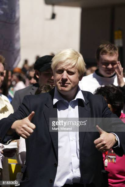 Lord Mayor Boris Johnson attends the Gay Pride parade on July 5 2008 in London The parade consists of celebrities floats and performers celebrating...