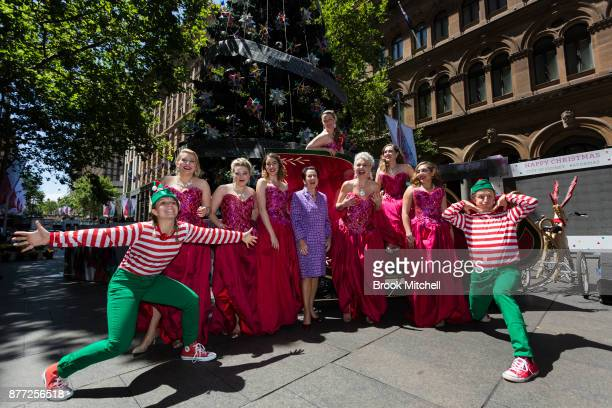 Lord Mayor Clover Moore is pictured with performers during the City Of Sydney Christmas Launch at Martin Place on November 22 2017 in Sydney Australia